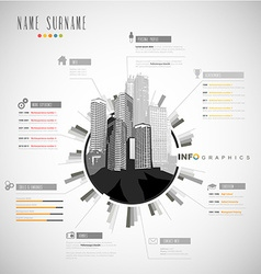 Creative resume template with cityscape vector