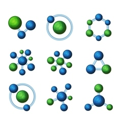 Abstract Blue and Green Molecules Icon Set on vector image