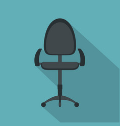 Black modern office chair icon flat style vector