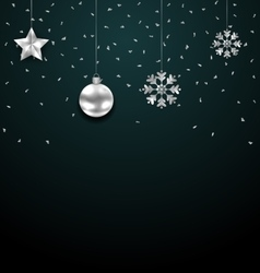 Christmas dark background with silver balls stars vector