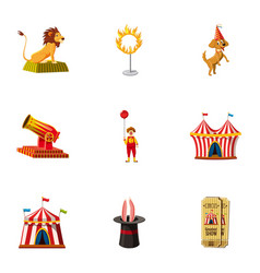 circus equipment icons set cartoon style vector image