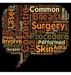 Common cosmetic surgery procedures text background vector