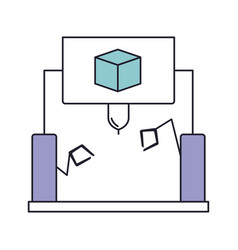 cube design with robotic hands icon in color vector image