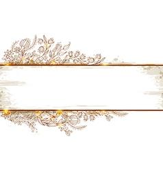 Doodle floral banner vector image