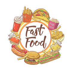 fast food hand drawn design with sandwich fries vector image
