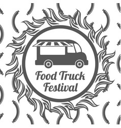 food truck festival banner seamless pattern vector image vector image