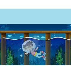 Girl diving under the ocean vector
