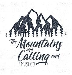 Hand drawn mountain advventure label calling vector