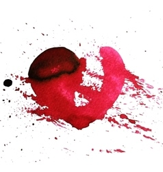 Hand-drawn watercolour red heart with splatter vector image vector image