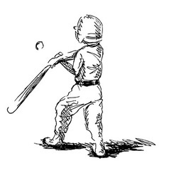 Hand sketch of a little boy playing baseball vector image vector image