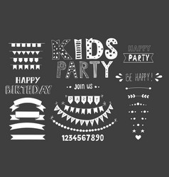 Kids party lettering party design elements vector