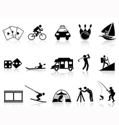 Leisure and Recreation icons set vector image vector image