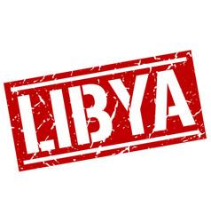 Libya red square stamp vector