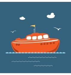 Orange lifeboat marine rescue vessel vector