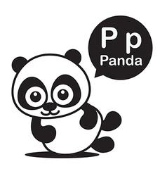 P panda cartoon and alphabet for children to vector