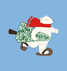 Polar bear and christmas tree vector image