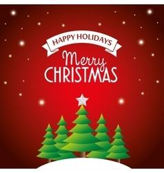 postcard happy holidays merry christmas pine tree vector image