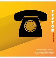 Retro telephone flat modern web button with long vector