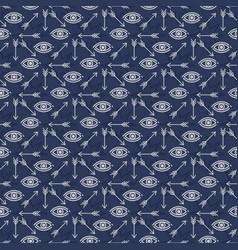 seamless pattern design with stars eyes and arrows vector image vector image