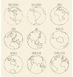 Sketch globe america africa europe asia australia vector