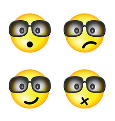 smiley with sunglasses and different face vector image vector image