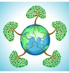 tree in globe vector image
