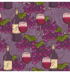 Wine sketch seamless pattern vector image
