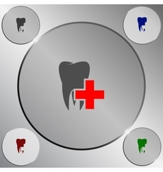 Flat paper cut style icon of tooth dentistry vector