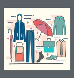 Set of fashion collection of man wardrobe vector