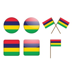 Badges with flag of mauritius vector