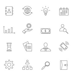 Business icon set outline vector