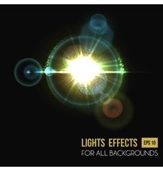 Hexagon and round lens sun light effect vector