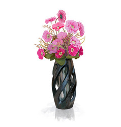 bouquet of pink flower in vase with reflect shadow vector image