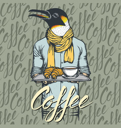 Penguin with croissant and coffee vector