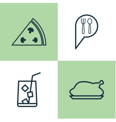 Restaurant icons set collection of pepperoni vector
