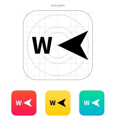 West direction compass icon vector