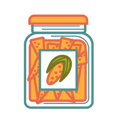 Jar with delicious canned corn isolated cartoon vector
