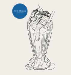 chocolate milk shake sketch vector image
