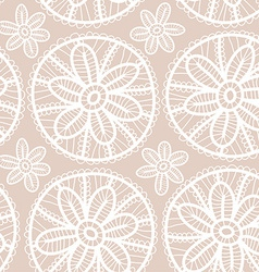 Lace fabric seamless pattern with white flowers on vector