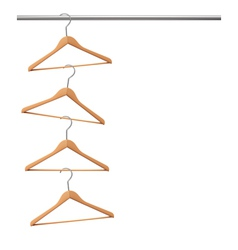 Coat hangers hanging on a clothes rail vector