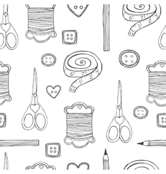 Hand drawn sewing seamless pattern vector