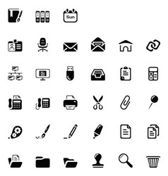 33 black office icons vector