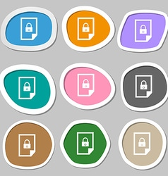 File locked icon sign multicolored paper stickers vector