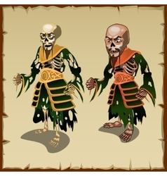 Two asian zombies in the traditional rags costumes vector