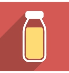 Full bottle flat long shadow square icon vector