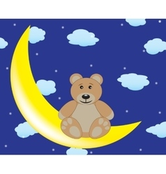 Bear is sitting on the moon vector image