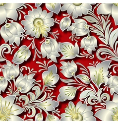 Seamless silver floral ornament on red background vector