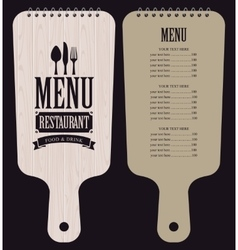 Menu in wooden cutting board vector