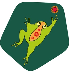 Green frog flower vector