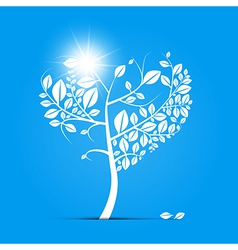 Abstract Heart Shaped Tree on Blue Background vector image